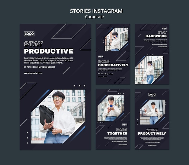 Instagram stories collection for professional business corporation