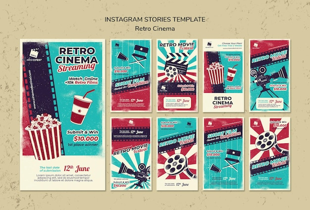 Instagram stories collection for retro cinema