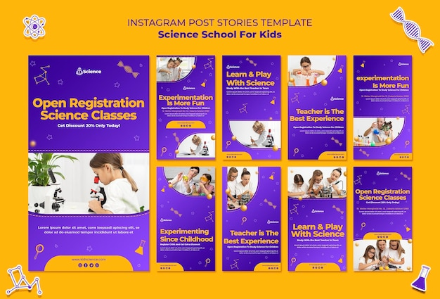 Instagram stories collection for science school for children