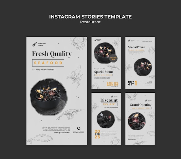 Instagram stories collection for seafood restaurant with mussels and noodles