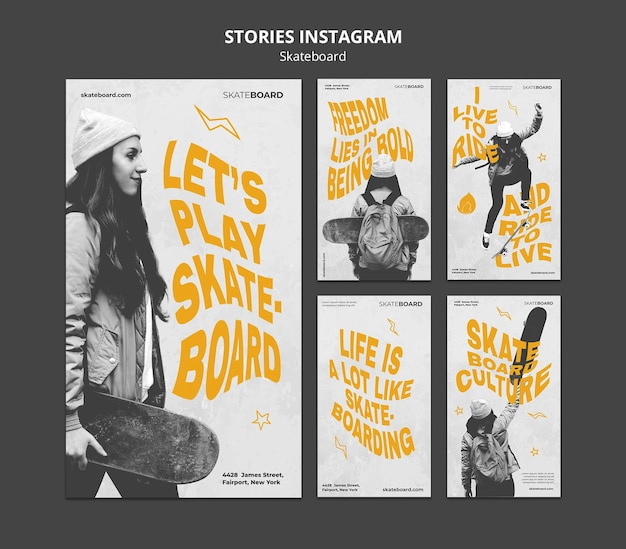 Instagram stories collection for skateboarding with woman