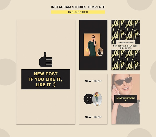 Instagram stories collection for social media fashion influencer