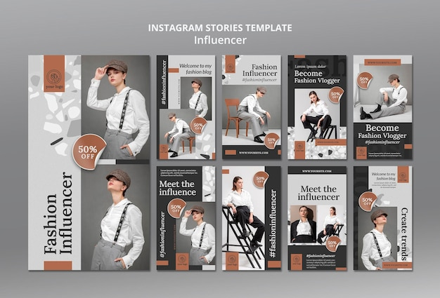 Instagram stories collection for social media female influencer