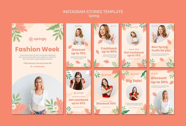 Instagram stories collection for spring fashion week