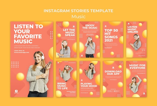 Instagram stories collection for streaming music online with woman wearing headphones