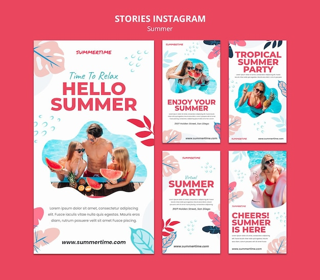 Instagram stories collection for summer fun at the pool