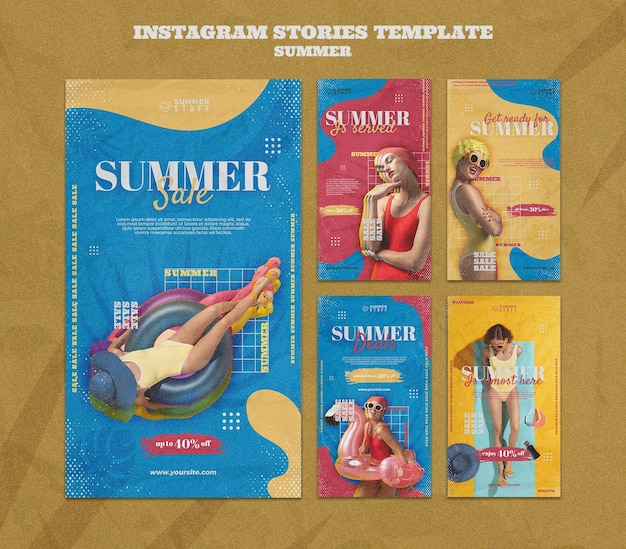 Instagram stories collection for summer sale with woman