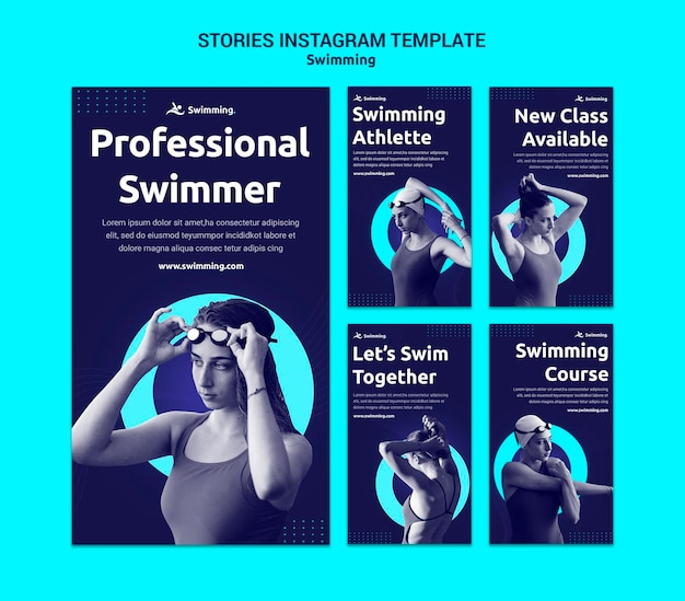 Instagram stories collection for swimming with female swimmer