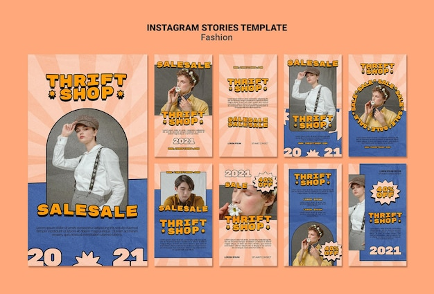 Instagram stories collection for thrift shop fashion sale