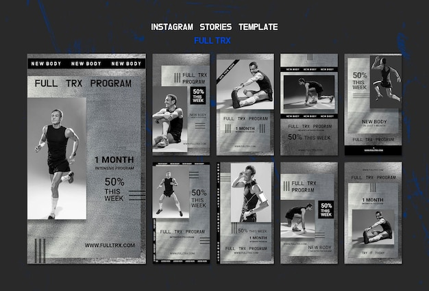 Instagram stories collection for trx workout with male athlete