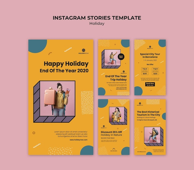 Instagram stories collection for vacations with female backpacker