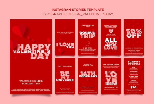 Instagram stories collection for valentine's day with hearts