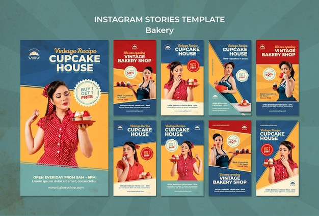 Instagram stories collection for vintage bakery shop with woman