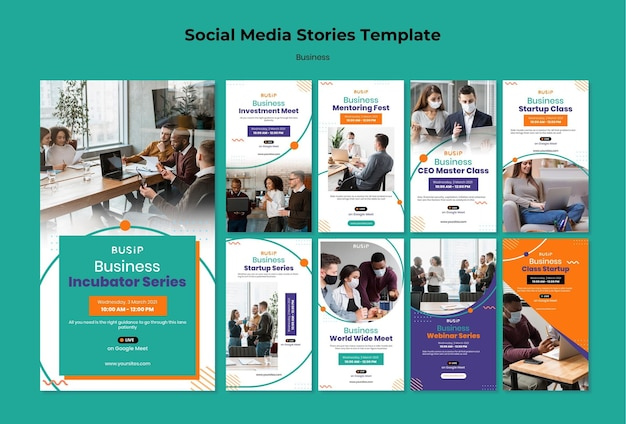 Instagram stories collection for webinar and business startup