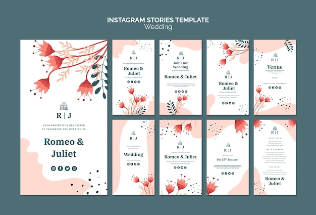 Instagram stories collection for wedding with flowers