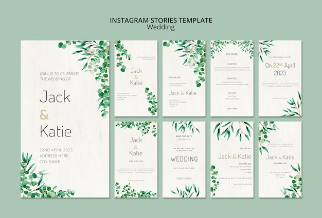 Instagram stories collection for wedding with leaves