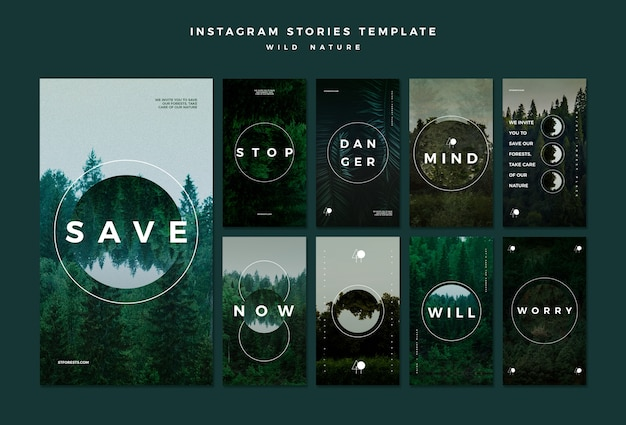 Instagram stories collection for wild nature