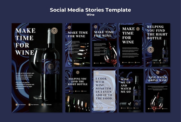 Raccolta di storie su instagram per il business del vino