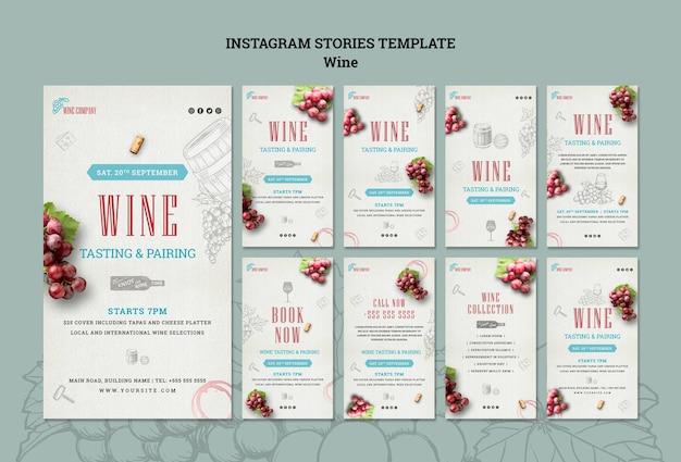 Raccolta di storie di instagram per degustazione di vini