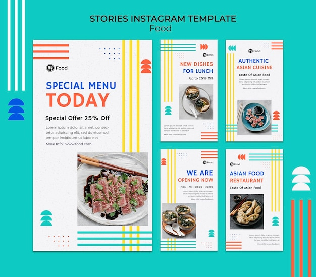 Instagram stories collection with dishes from asian cuisine