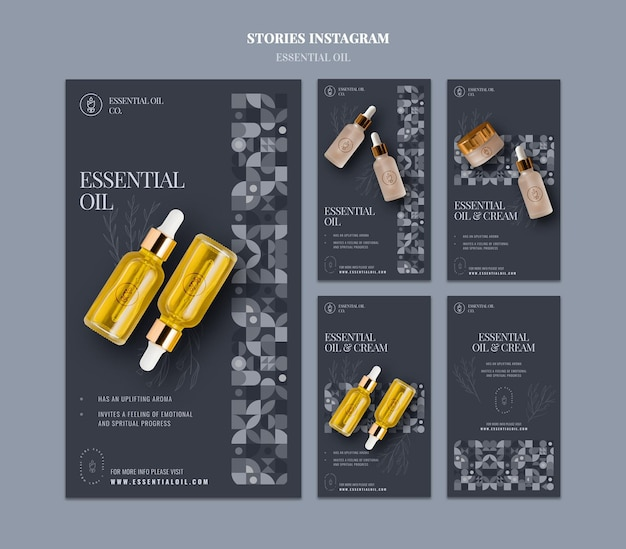 Instagram stories collection with essential oil cosmetics