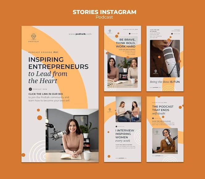 女性のポッドキャスターとマイクを備えたinstagramストーリーコレクション