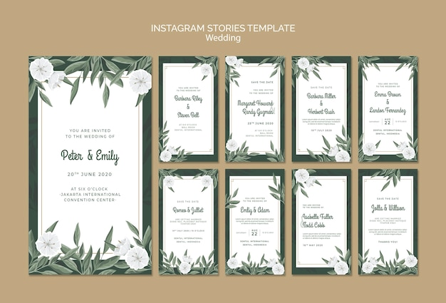 Instagram stories collection with flowers for wedding Free Psd