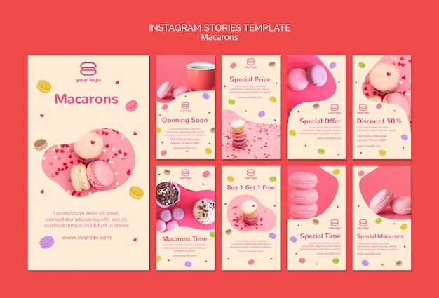 Instagram stories collection with macarons