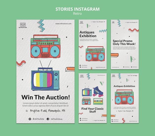 Коллекция историй instagram с элементами ретро Premium Psd