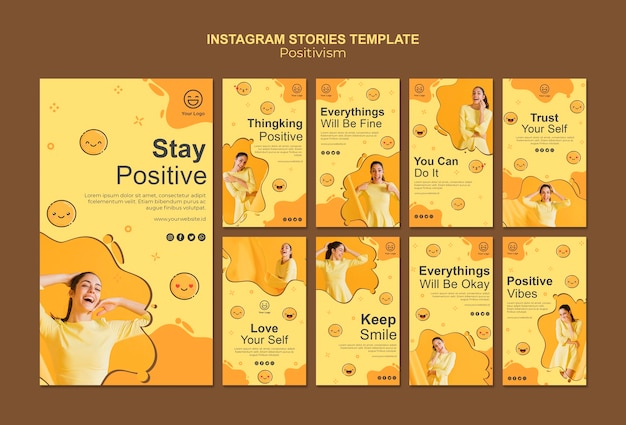 Instagram stories collection with stay positive