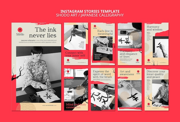 Instagram stories collection with woman practicing japanese shodo art
