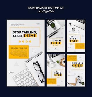 Raccolta di storie di instagram per la produttività del lavoro