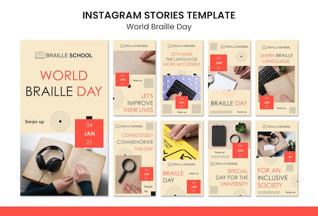 Instagram stories collection for world braille day