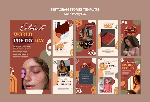 Raccolta di storie di instagram per la celebrazione della giornata mondiale della poesia