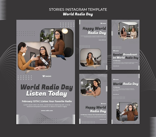 Instagram stories collection for world radio day with female broadcaster