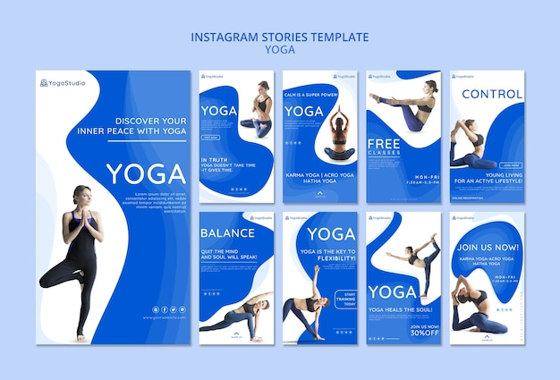 Instagram stories collection for yoga fitness