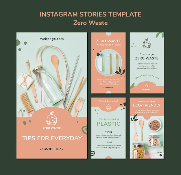 Instagram stories collection for zero waste lifestyle Premium Psd