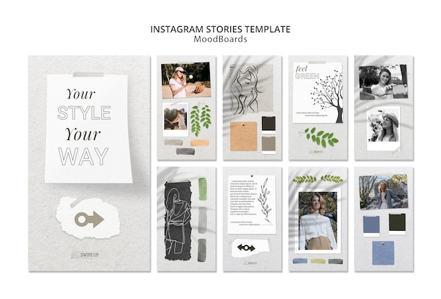 Instagram stories concept with moodboard