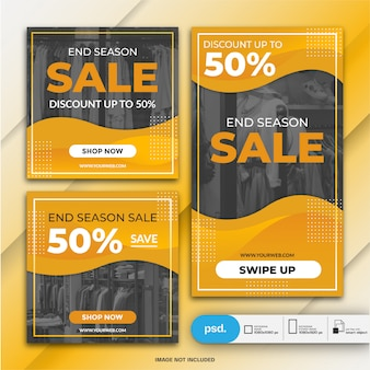 Instagram stories and feed post bundle fasion sale template