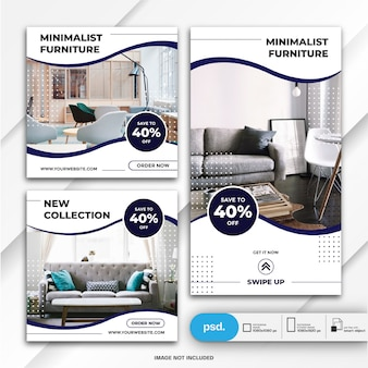 Instagram stories and feed post bundle furniture sale template