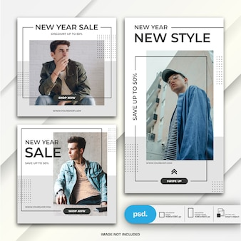 Instagram stories and feed post bundle new year sale template
