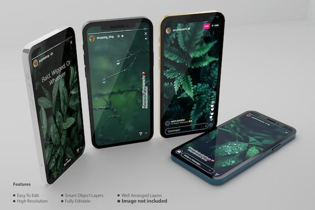 스마트 휴대 전화 모형에 대한 instagram 이야기
