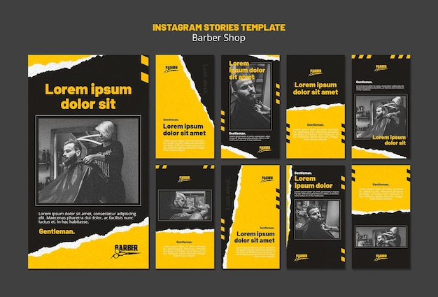 Instagram stories pack for barber shop business