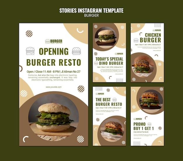 Instagram stories pack for burger restaurant