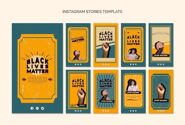 검은 삶의 문제에 대한 instagram 이야기 팩