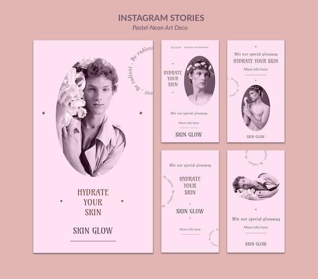 Instagram 이야기 파스텔 네오 아트 디자인 템플릿