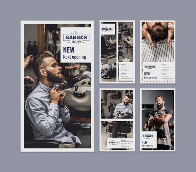 Instagram stories set with barber concept
