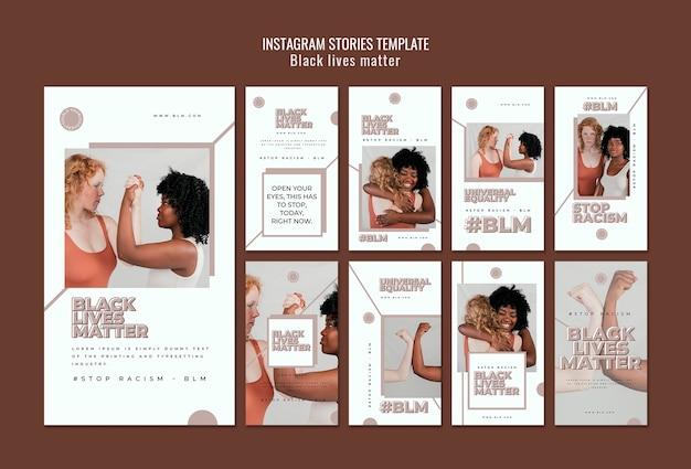 Instagram stories set with black lives matter