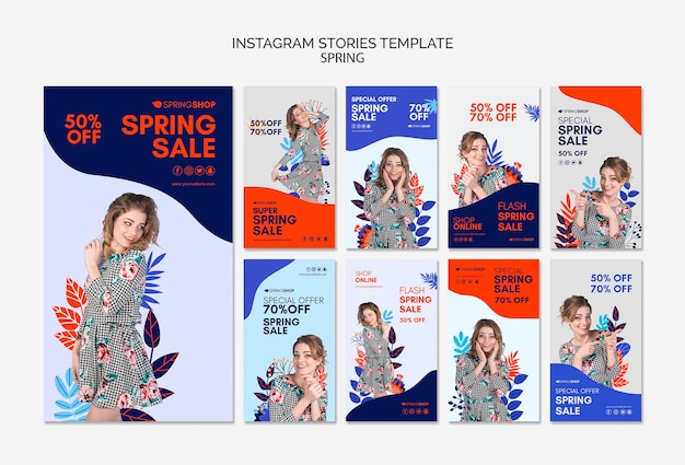 Instagram stories spring sale with woman and leaves