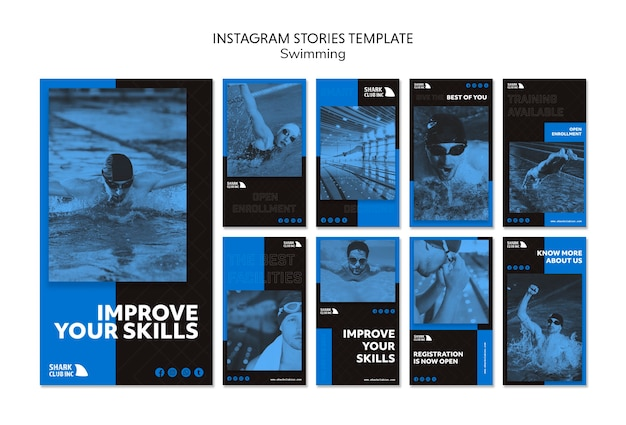 Instagram stories swimming club template